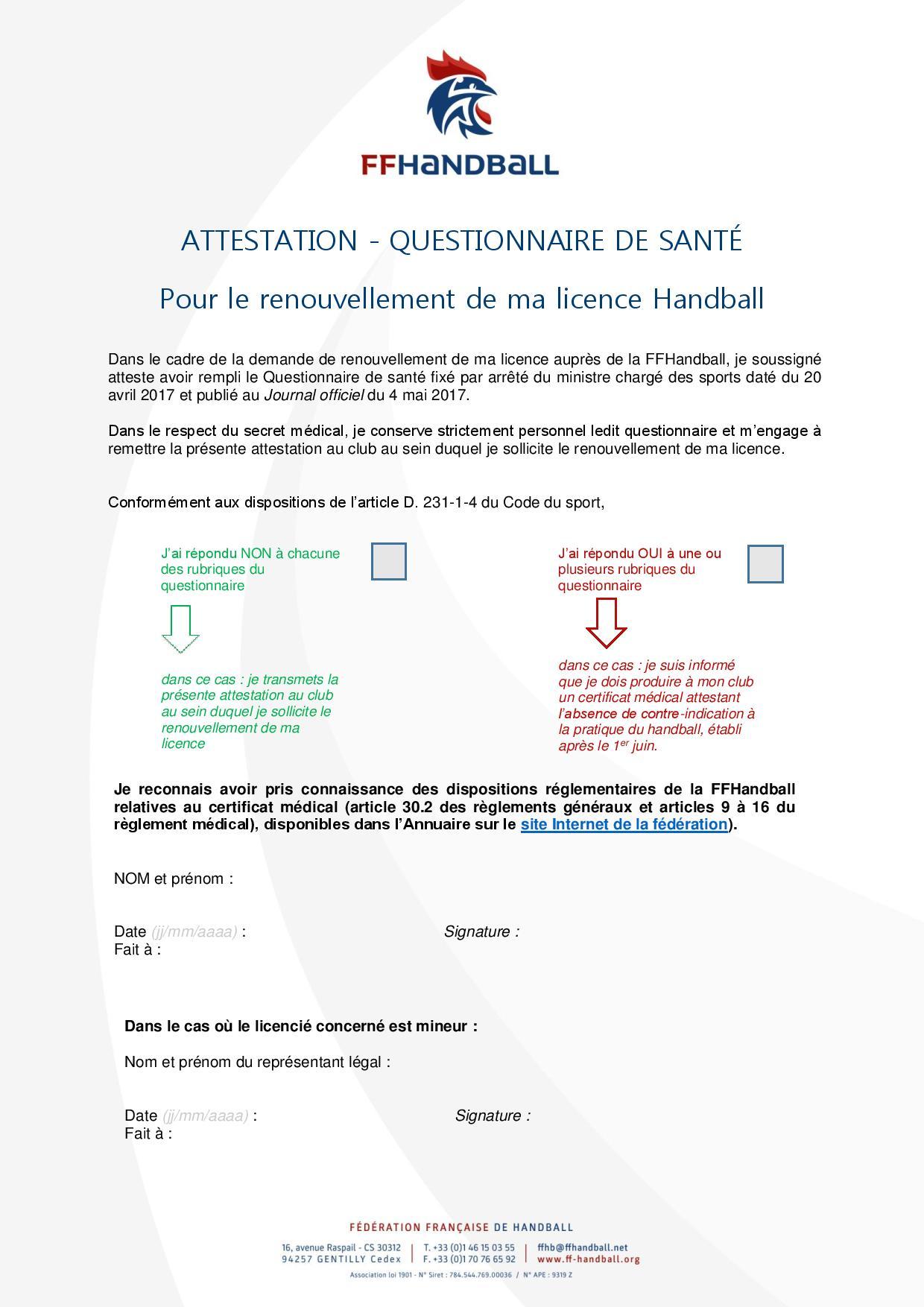 Attestation de Santé et Questionnaire page 1